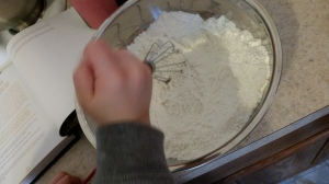 I told him to be very careful not to fling flour...